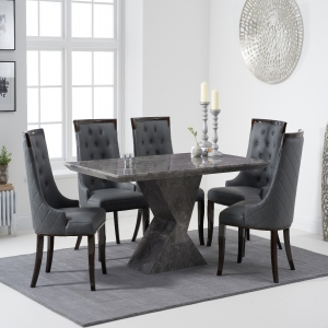 Aaron 160cm Grey Marble Dining Table With Angelica Dining Chairs