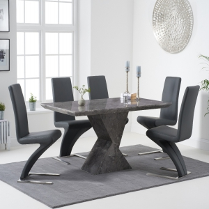 Aaron 160cm Grey Marble Dining Table With Hampstead Dining Chairs