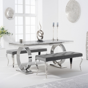 Hepburn 180cm Marble Dining Table with Fitzrovia Velvet Benches